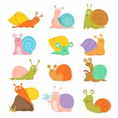 Cartoon Snail. Cute Slug, Mollusk With Shell And Escargot. Funny Animals Vector Characters. Snail Sl poster