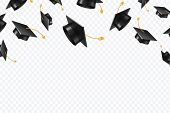 Graduate Caps Flying. Black Academic Hats In Air. Education Isolated Vector Concept. Finish College  poster