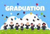 Graduate Kids Background. Children Wearing In Academic Clothes Celebrating Graduation Day Vector Ill poster