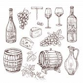 Sketch Wine Set. Grape, Wine Bottles And Wineglass, Barrel. Hand Drawn Vintage Alcoholic Beverages V poster
