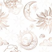 Sun And Moon Vintage Seamless Pattern. Oriental Style Background With Stars And Celestial Astrologic poster