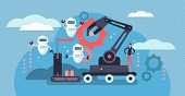 Robotics Vector Illustration. Flat Tiny Person Concept With Future Robots. Industry 4.0 - Factory Jo poster