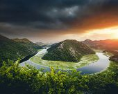 Top view of Rijeka Crnojevica flowing through mountains. Location place National park Skadar Lake, M poster