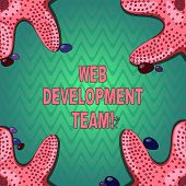 Handwriting Text Writing Web Development Team. Concept Meaning A Team Of Developers Working Towards  poster