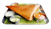 pic of indian food  - Masala dosa with different types of chutney and sambar - JPG