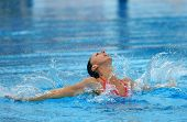 BARCELONA, SPAIN - JUNE 20: Spanish olympic medalist Gemma Mengual swims a solo exercise during the