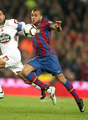 BARCELONA-APRIL 14: Dani Alves of Barcelona in action during a Spanish League match between FC Barce