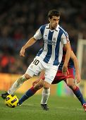 BARCELONA - DEC 12: Xabier Prieto of Real Sociedad in action during a Spanish League match between F