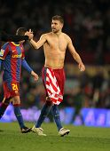 BARCELONA - FEB 20: Pique of Barcelona after the match between FC Barcelona and Athletic de Bilbao a