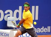 BARCELONA - APRIL 20: Spanish tennis player Rafael Nadal in action during his match against Gimeno-T