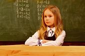 Small Girl. Small Girl With Serious Face In School. Small Girl At School Lesson. Small Girl Is Ready poster