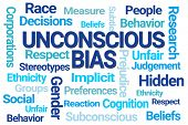 Unconscious Bias Word Cloud on White Background poster