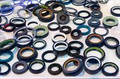 Various Rubber Products And Sealing Products At The Exhibition Stand. Industry poster
