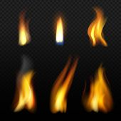 Fire Flame Template. Realistic Fuego Effects Candlelight With Orange Smoke Vector Realistic Isolatio poster