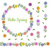 Colorful Wreath Made From Different Spring Flowers And Leaves. Beautiful Welcoming Lettering. Endles poster