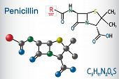 General Formula Of Penicillin (pcn) Molecule. It Is A Group Of Antibiotics. Structural Chemical Form poster