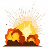 Fire Explosion Icon. Cartoon Illustration Of Fire Explosion Icon For Web poster