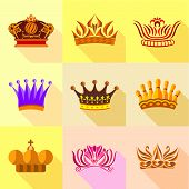 Princess Crown Icons Set. Flat Set Of 9 Princess Crown Icons For Web With Long Shadow poster