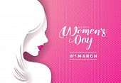 Happy Womens Day Floral Greeting Card Design. International Female Holiday Illustration With Women S poster