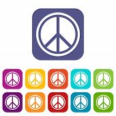 Sign Hippie Peace Icons Set Illustration In Flat Style In Colors Red, Blue, Green, And Other poster