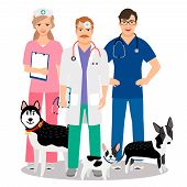 Dogs Veterinary. Veterinarian Team With Cute Dogs Care For Vet Clinic Vector Illustration poster