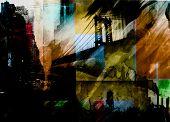 Manhattan bridge. Dramatic painting in dark colors. 3D rendering poster