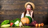 Traditional Farm Market. Child Celebrate Harvesting. Girl Kid Farm Market With Fall Harvest. Kid Far poster