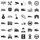 Automobile Icons Set. Simple Style Of 36 Automobile Icons For Web Isolated On White Background poster