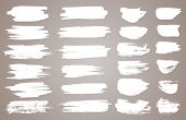 Set Of White Ink Vector Stains. Vector Black Paint, Ink Brush Stroke, Brush, Line Or Round Texture.  poster