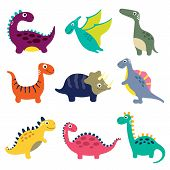 Funny Cartoon Colorful Dinosaurs Collection. Vector Illustration poster