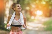 Portrait Young Attractive Smiling Fit Woman With White Towel Resting After Workout Sport Exercises O poster
