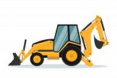 Vector Design Of Backhoe. Heavy Machinery, Vector Design Of Heavy Machinery Used In The Mining Indus poster