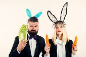 Happy Easter And Funny Easter Day. Funny Easter Bunny Coupe. Two Funny Rabits. Funny Couple In Banny poster