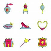 Princess Icons Set. Flat Set Of 9 Princess Icons For Web Isolated On White Background poster