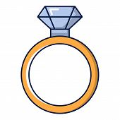 Gold Ring With Diamond Icon. Cartoon Illustration Of Gold Ring With Diamond Icon For Web Design poster