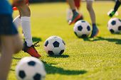 Soccer Football Training For Children. Kids Playing Soccer On Training Football Pitch. Beginner Socc poster