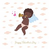 African Little Cupid Character Playing Music Of Love On A Pipe And  Soaring In Clouds.  Flat Card Il poster