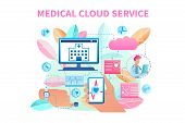 Banner Illustration Medical Cloud Service System. Vector Image Data Transfer From Patient Bracelet.  poster