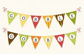 Cute Thanksgiving Bunting Flags With Letters In Traditional Colors poster
