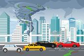 Vector Illustration Of Swirling Tornado And Flood, Thunderstorm In Big Modern City With Skyscrapers. poster