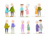 Vector Illustration Set Of Cute And Nice Old People Couples In Different Situations And Poses On Whi poster