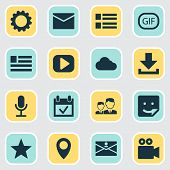 Media Icons Set With Letter, Form, Media And Other Play Elements. Isolated Vector Illustration Media poster