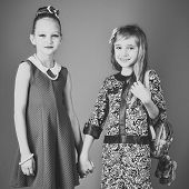 Children Girls In Dress, Family And Sisters. Family Fashion Model Sisters, Beauty. Fashion And Beaut poster
