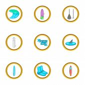 Surfing Club Icons Set. Cartoon Set Of 9 Surfing Club Icons For Web Isolated On White Background poster