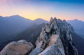 View of stones and rock formations from Ulsanbawi rock peak on sunset. Seoraksan National Park, Sout poster