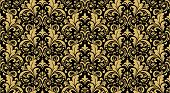 Wallpaper In The Style Of Baroque. Seamless Vector Background. Black And Gold Floral Ornament. Graph poster