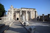 stock photo of synagogue  - Ruins of the great synagogue of Capernaum - JPG