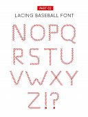 Baseball Font Made From Baseball Ball Lacing Along The Contours Of The Letters. Vector Illustration  poster
