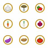 Vegetarian Food Icons Set. Cartoon Set Of 9 Vegetarian Food Icons For Web Isolated On White Backgrou poster