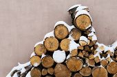 Stacks Of Firewood. Preparation Of Firewood For The Winter. Pile Of Firewood.firewood Background poster